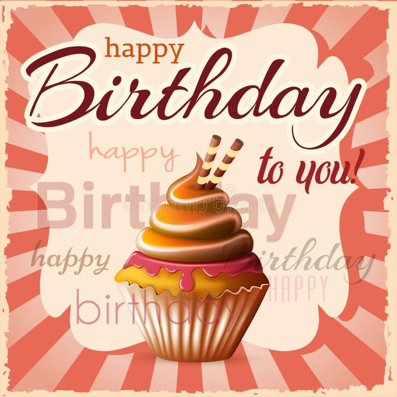 Поздравительая открытка ко дню рождения с пирожным и текстом стоковое изображение