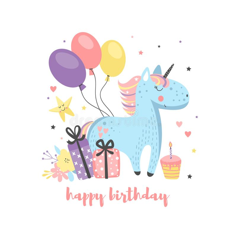 Поздравительая открытка ко дню рождения с смешным единорогом иллюстрация вектора