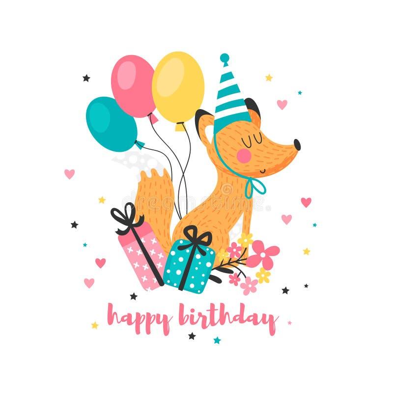 Поздравительая открытка ко дню рождения с смешным Fox иллюстрация штока