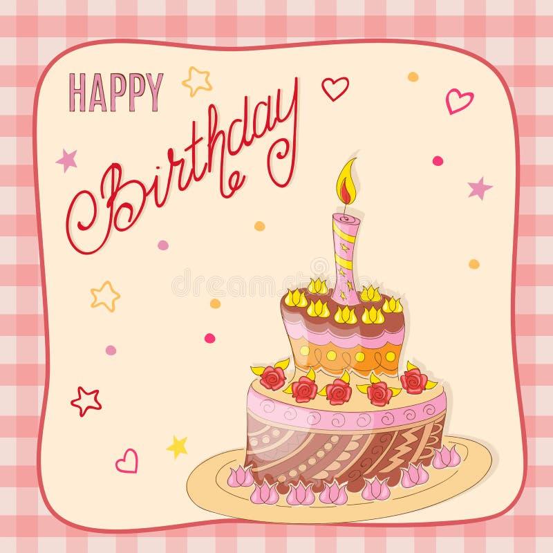 Поздравительая открытка ко дню рождения с тортом, свечой и розами doodle в рамку иллюстрация штока