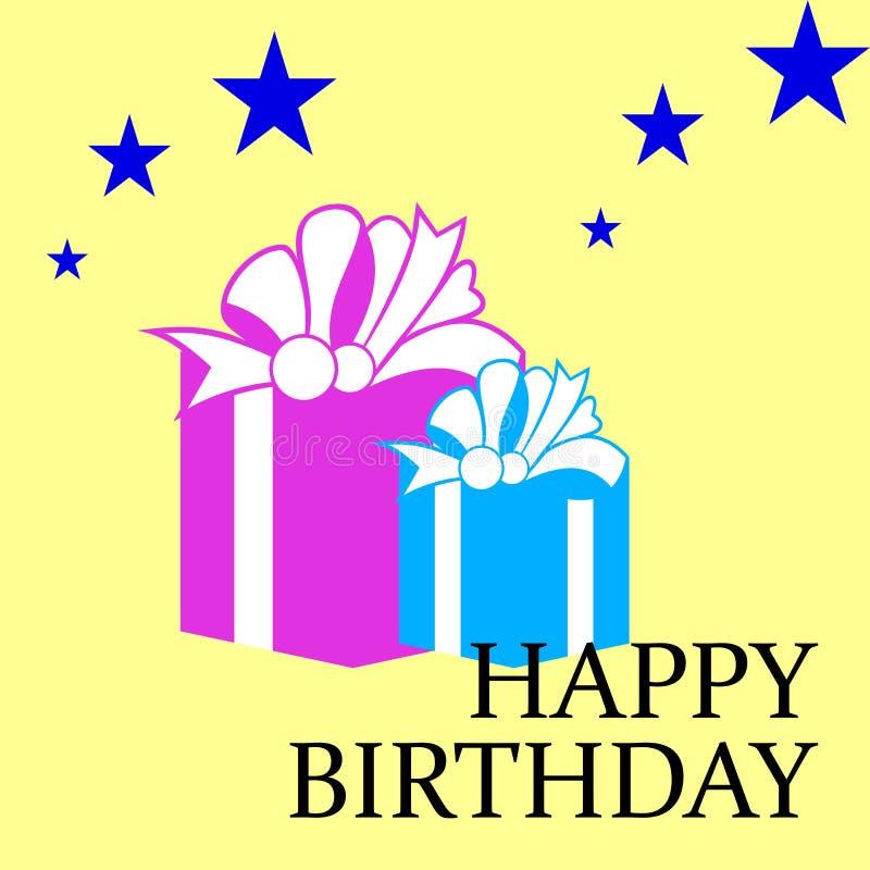 Download поздравительая открытка ко дню рождения Иллюстрация вектора - иллюстрации насчитывающей тесемка, подарок: 6859810