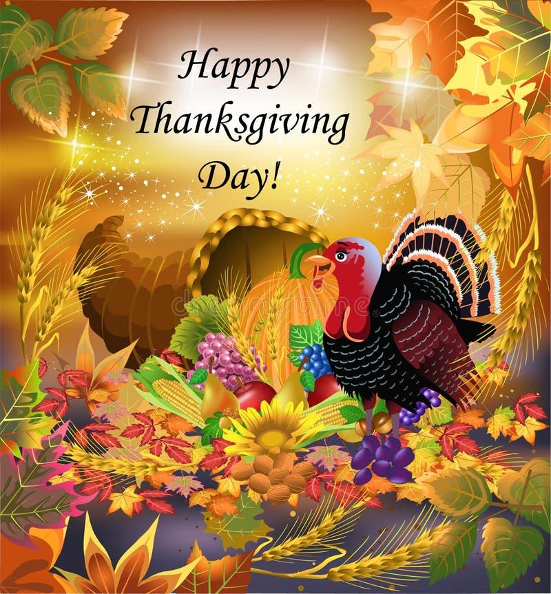 Поздравительная открытка благодарения иллюстрация вектора