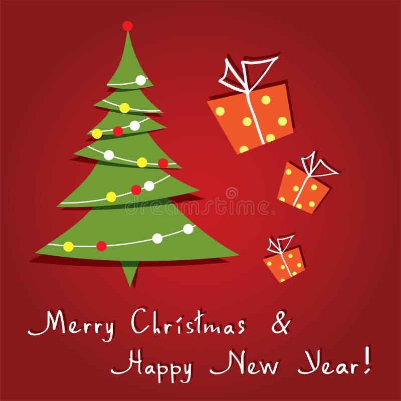 поздравительная открытка вектора с рождественской елкой бесплатная иллюстрация