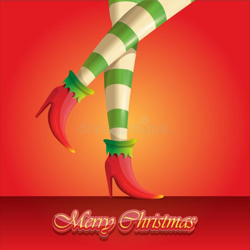 Поздравительная открытка веселого рождества вектора с ногами и приветствовать девушек эльфа мультфильма рождество каллиграфическо иллюстрация вектора