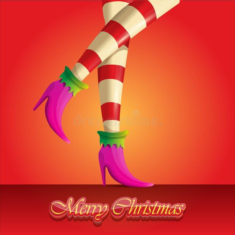 Поздравительная открытка веселого рождества вектора с ногами и приветствовать девушек эльфа мультфильма рождество каллиграфическо бесплатная иллюстрация