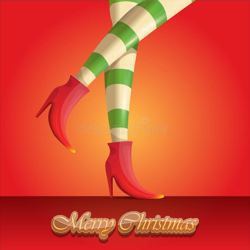 Поздравительная открытка веселого рождества вектора с ногами и приветствовать девушек эльфа мультфильма рождество каллиграфическо иллюстрация штока