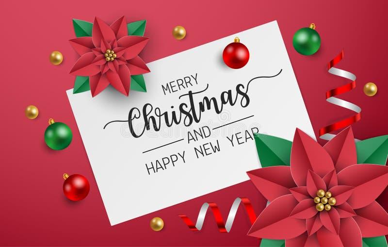 Поздравительная открытка веселого рождества, открытка, плакат с красными и зелеными шариками, сияющая лента и красные цветки poin бесплатная иллюстрация
