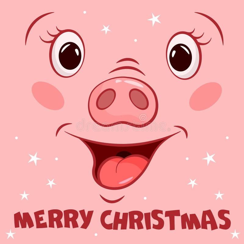 Поздравительная открытка веселого рождества со стороной свиньи мультфильма иллюстрация вектора
