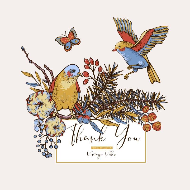 Поздравительная открытка весны вектора винтажная флористическая с птицами, ветвями ели, хлопком, цветками и бабочками иллюстрация вектора