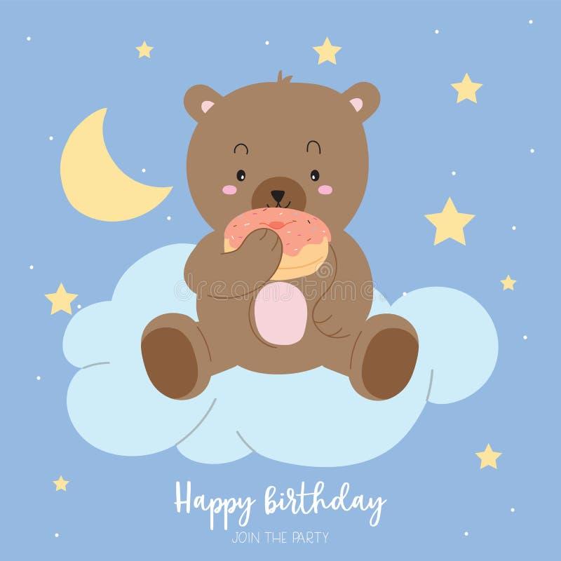 Поздравительная открытка голубого коричневого цвета пастельная с медведем ест донут сидит на c иллюстрация вектора