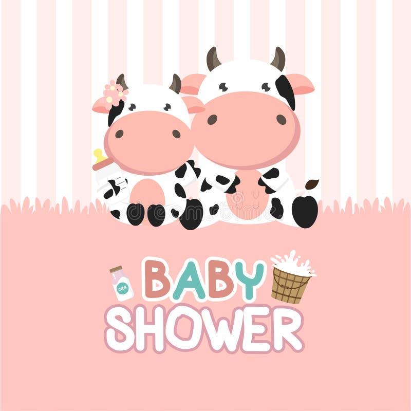 Поздравительная открытка детского душа с меньшей коровой r бесплатная иллюстрация