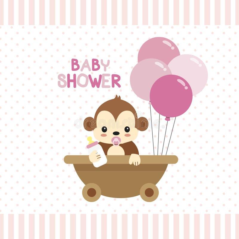 Поздравительная открытка детского душа с меньшей обезьяной бесплатная иллюстрация