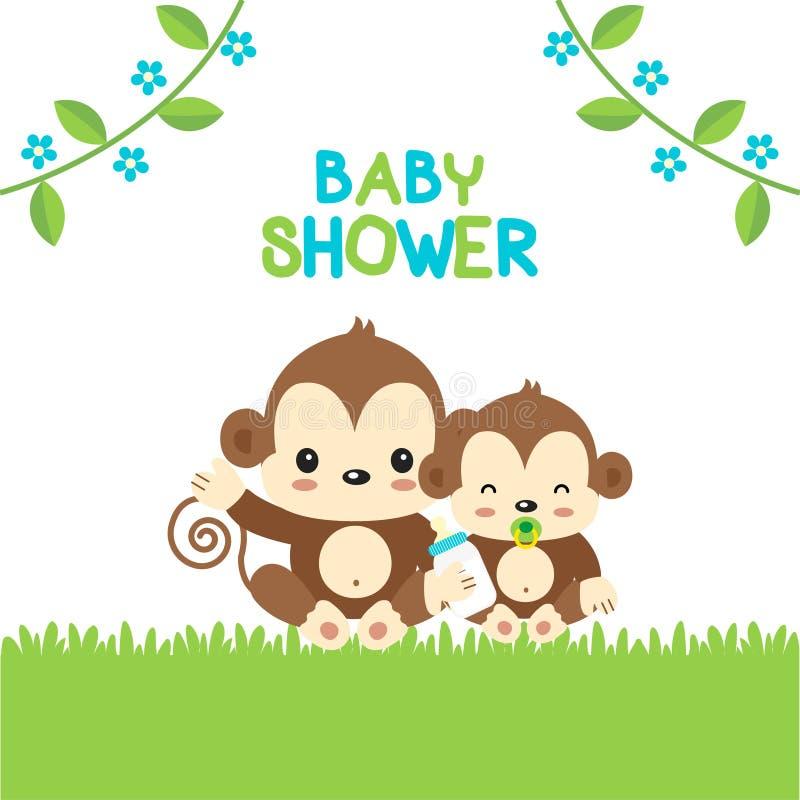 Поздравительная открытка детского душа с обезьяной мамы и младенца иллюстрация штока