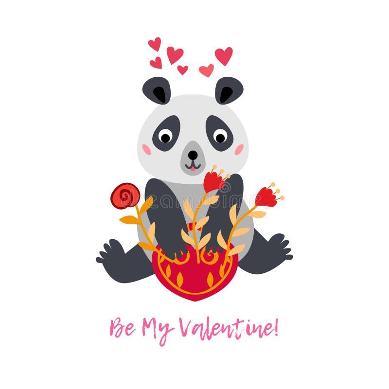 Поздравительная открытка дня Валентайн с медведем панды и красными цветками бесплатная иллюстрация
