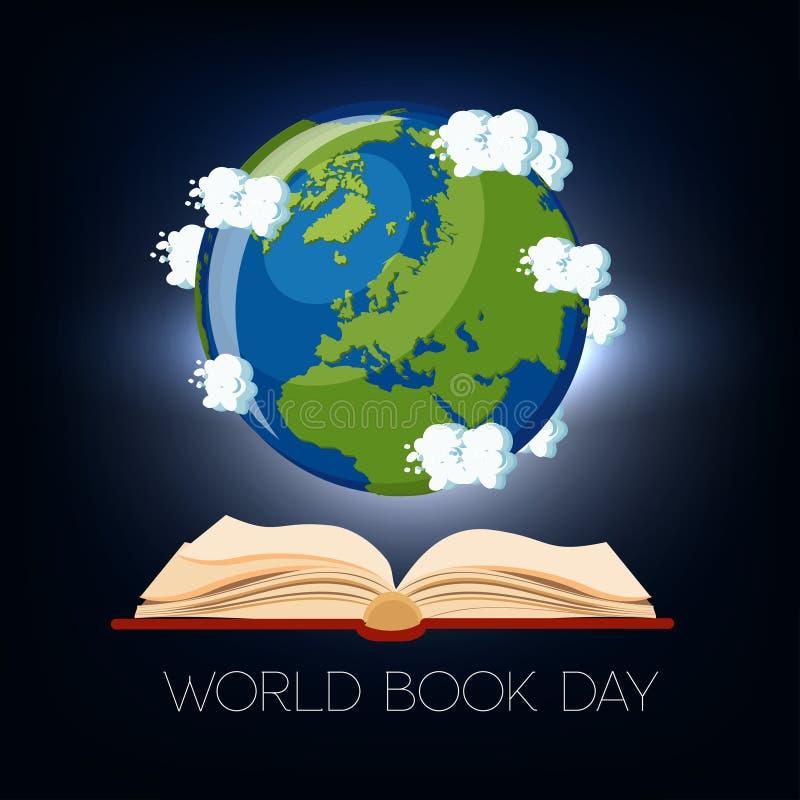 Поздравительная открытка дня книги мира с открытыми книгой и глобусом земли с облаками на темно-синей предпосылке иллюстрация вектора