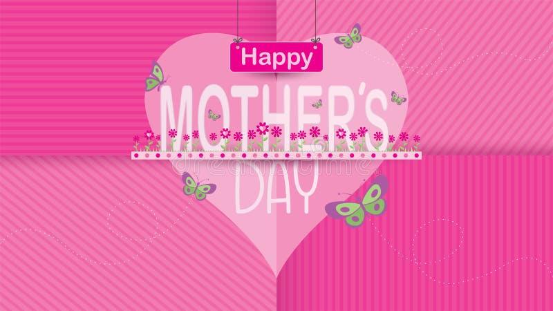 Поздравительная открытка дня матерей PrintHappy МАТЬ слова в середине сада цветков цвета мадженты с летанием бабочек бесплатная иллюстрация