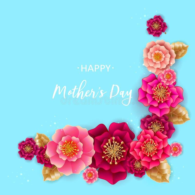 Поздравительная открытка Дня матери с цветками на голубой предпосылке бесплатная иллюстрация