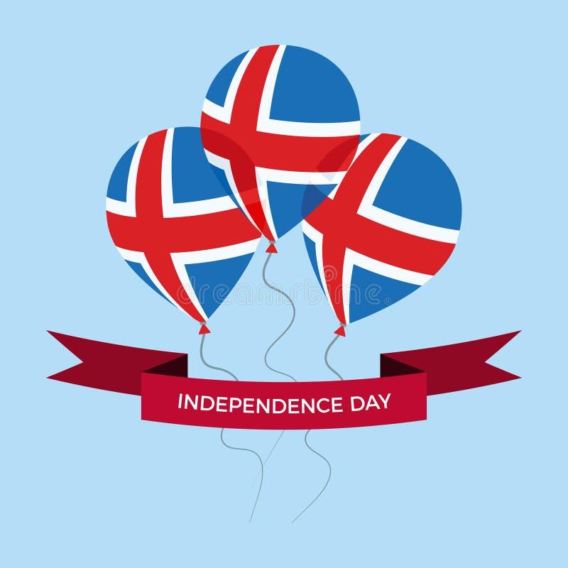 Поздравительная открытка Дня независимости Исландии Плоские воздушные шары летая в национальных цветах Исландии стоковое изображение rf