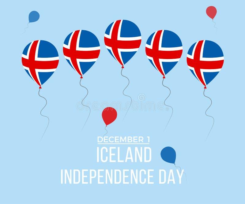 Поздравительная открытка Дня независимости Исландии Плоские воздушные шары летая в национальных цветах Исландии стоковое фото rf