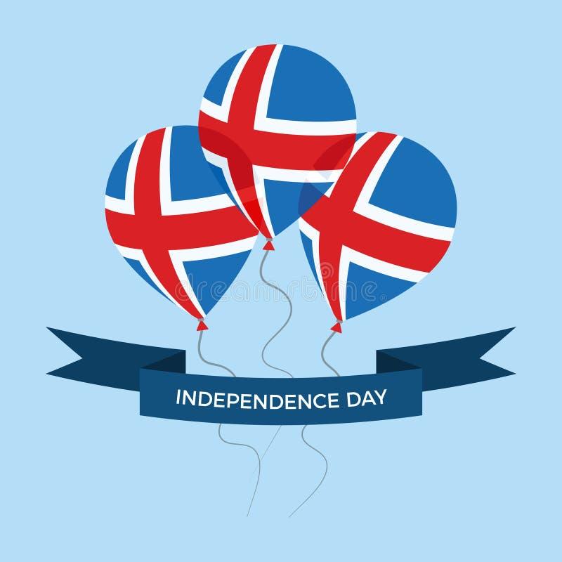 Поздравительная открытка Дня независимости Исландии Плоские воздушные шары летая в национальных цветах Исландии стоковое фото