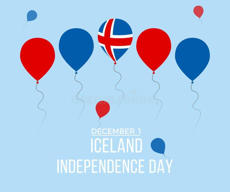 Поздравительная открытка Дня независимости Исландии Плоские воздушные шары летая в национальных цветах Исландии стоковые изображения