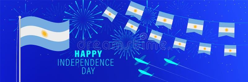 Поздравительная открыткаДня независимости 9-ое июля Аргентины Предпосылка торжества с фейерверками, флагами, флагштоком и тексто иллюстрация штока