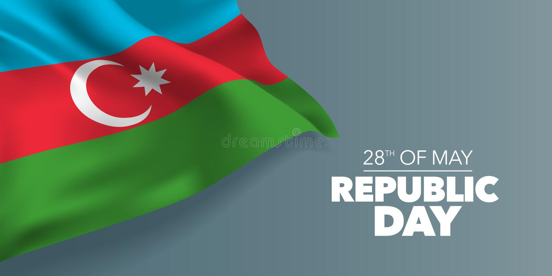 Поздравительная открытка дня республики Азербайджана счастливая, знамя с иллюстрацией вектора текста шаблона иллюстрация штока