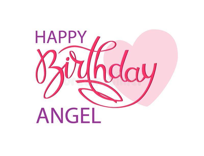 Поздравительная открытка дня рождения для ангела Элегантная литерность руки и большое розовое сердце r иллюстрация штока