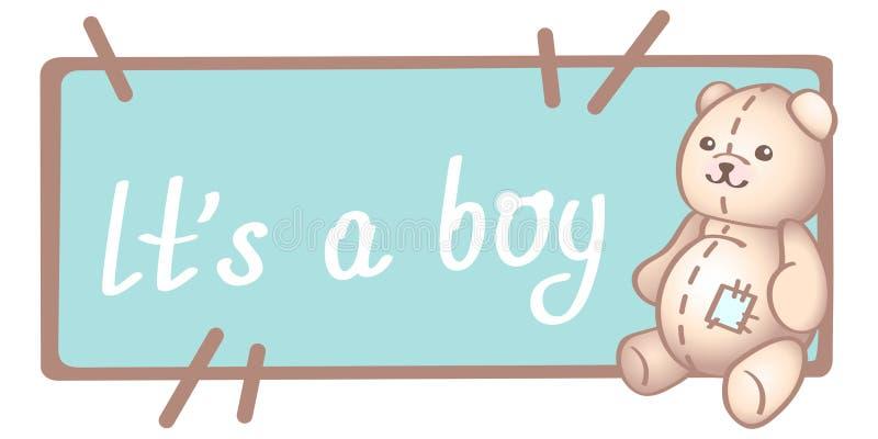 Поздравительная открытка дня рождения, приглашения или младенца, плакат, шаблон Милые иллюстрации вектора с игрушкой младенца нов бесплатная иллюстрация