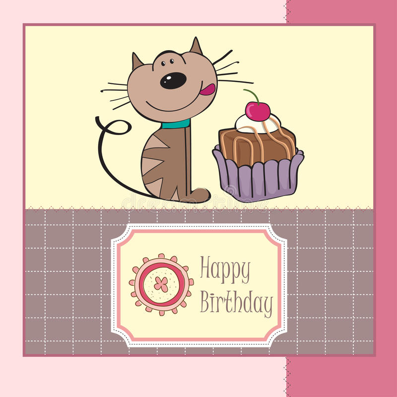 Поздравительная открытка дня рождения с котом иллюстрация штока
