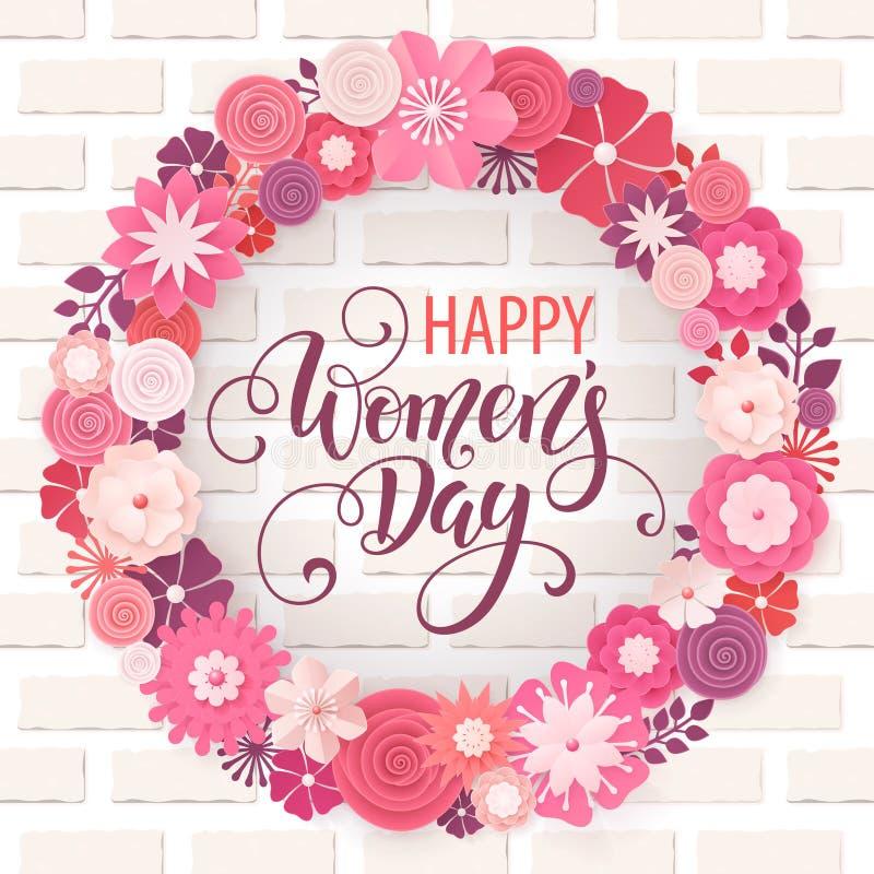 Поздравительная открытка дня счастливых женщин Рамка цветка Origami Иллюстрация EPS10 вектора бесплатная иллюстрация