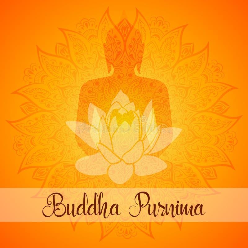 Поздравительная открытка иллюстрации вектора Будды Purnima Мандала, цветок лотоса с силуэтом buddhas иллюстрация вектора