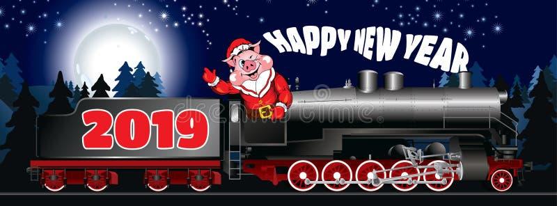 Поздравительная открытка иллюстрации свиньи в одежде Санта Клаусе стоковое изображение