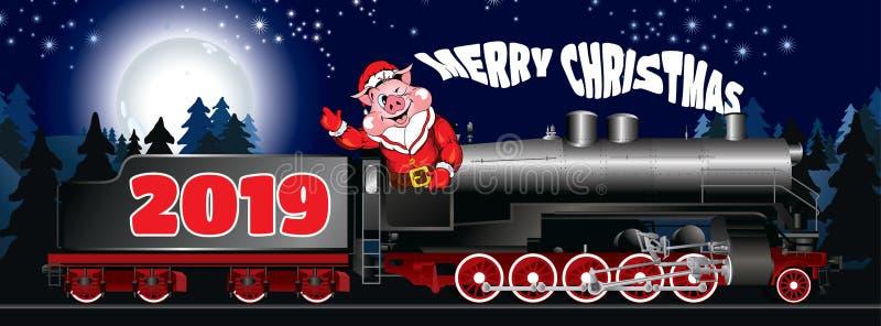 Поздравительная открытка иллюстрации свиньи в одежде Санта Клаусе стоковое фото