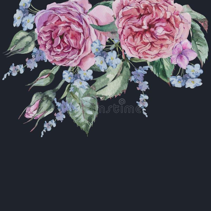 Поздравительная открытка классической акварели винтажная флористическая, акварель Bo иллюстрация вектора