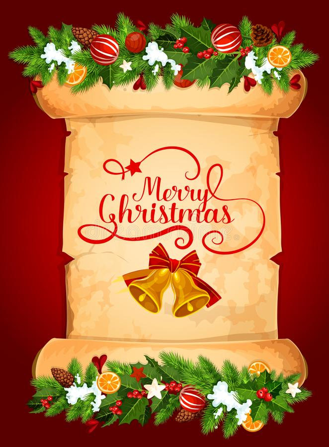Поздравительная открытка колокола рождества на старом бумажном перечене бесплатная иллюстрация
