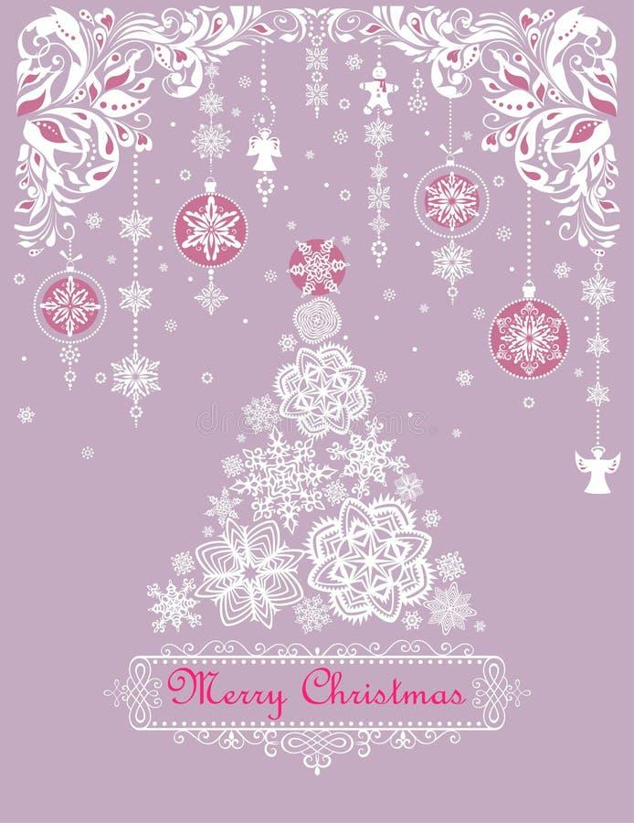 Поздравительная открытка красивого ремесла рождества пастельная с украшением смертной казни через повешение, пряником, флористиче иллюстрация штока