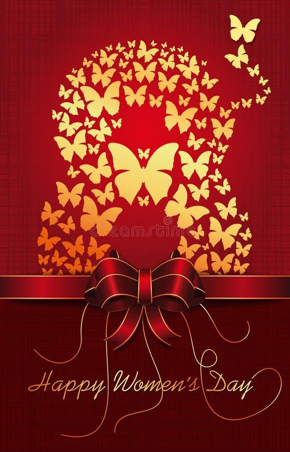 Поздравительная открытка к Международному женскому дню иллюстрация штока