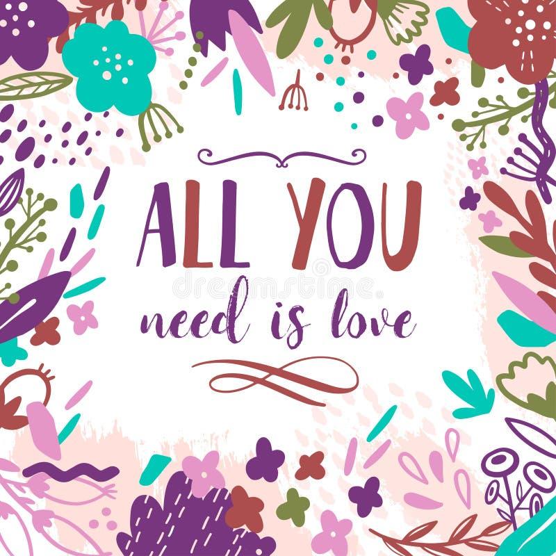 Поздравительная открытка лета винтажная флористическая с садом цветет Абстрактная открытка границы Отправьте СМС все вам влюбленн иллюстрация вектора