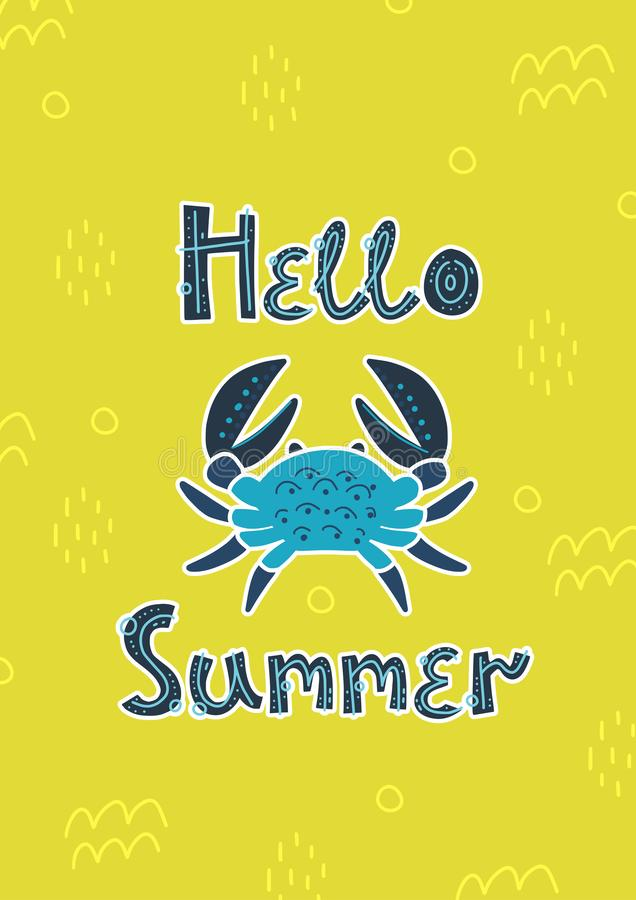 Поздравительная открытка, лето, карта приглашения Краб и помечать буквами лето здравствуйте Солнце и пляж бесплатная иллюстрация