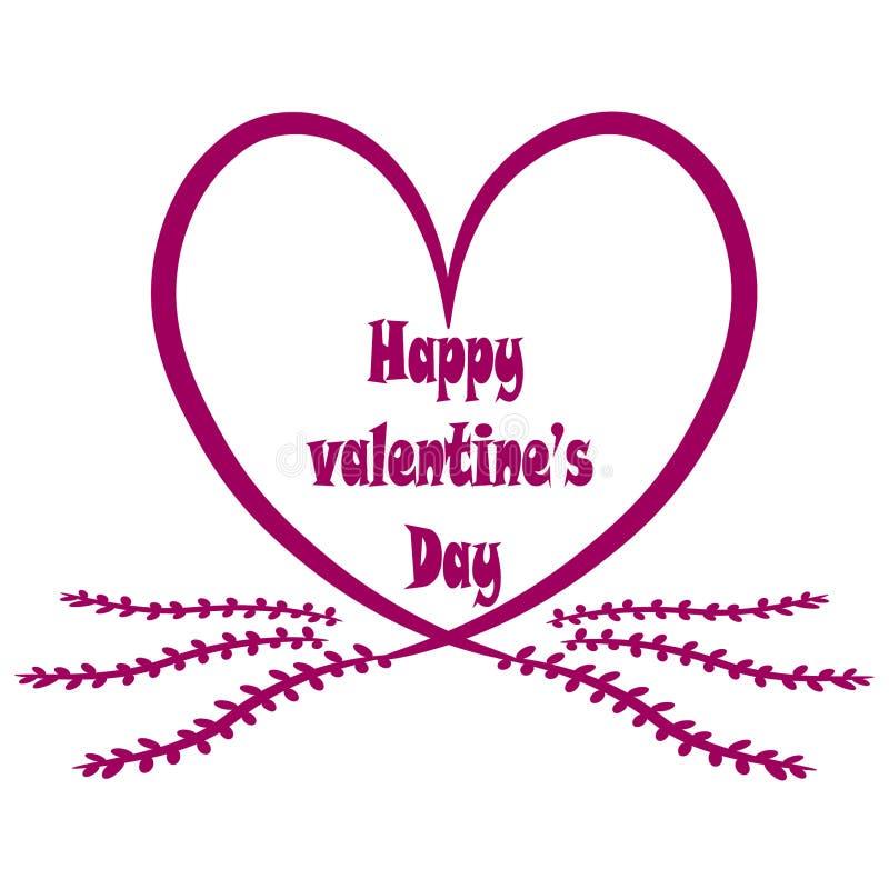 поздравительная открытка на белой предпосылке с розовыми сердцами и цветками иллюстрация вектора