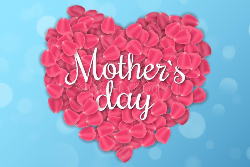 Поздравительная открытка на счастливый День матери Абстрактное голубое bokeh светов Надпись на сердце розовых реалистических лепе иллюстрация вектора