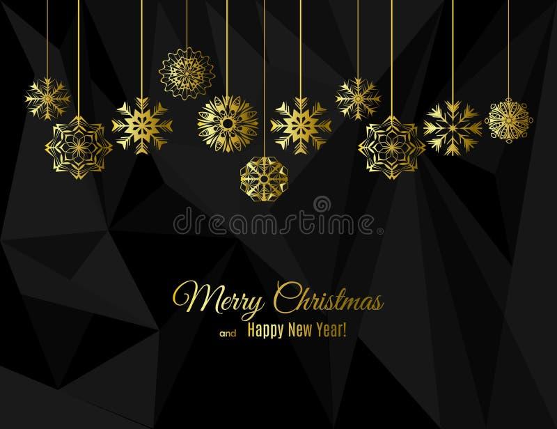 Поздравительная открытка Нового Года и рождества с снежинками золота на строках на черной предпосылке полигона иллюстрация штока