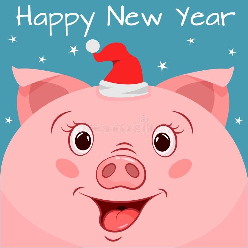 Поздравительная открытка Нового Года со свиньей мультфильма иллюстрация штока