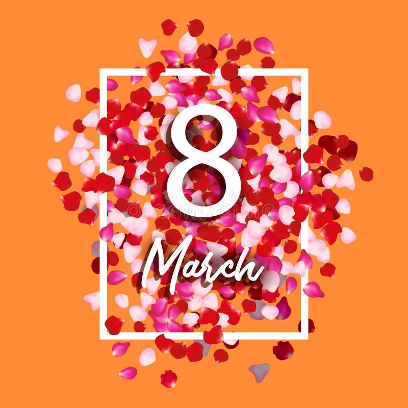Поздравительная открытка 8-ое марта с лепестками розы 8-ое марта - день international женщины s Иллюстрация праздника вектора кра бесплатная иллюстрация