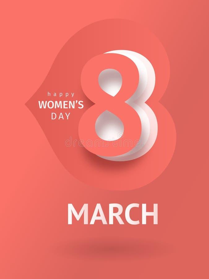Поздравительная открытка 8-ое марта Шаблон праздника бесплатная иллюстрация