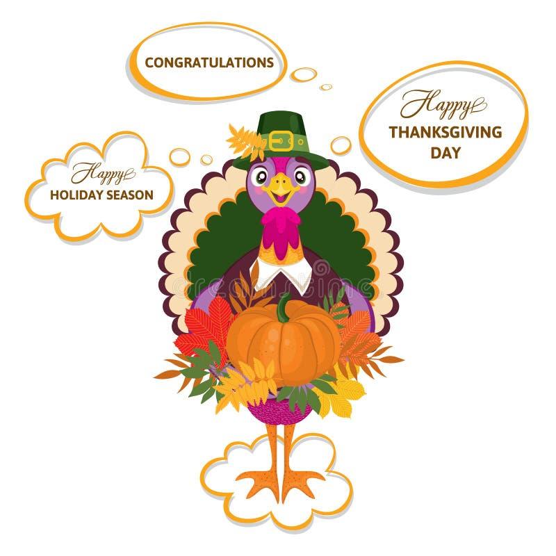 Поздравительная открытка официальный праздник в США в память первых колонистов Массачусетса с милым счастливым шаржем птицы индюк иллюстрация штока
