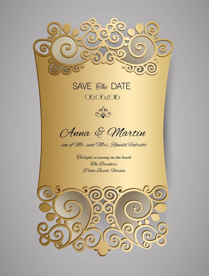 Поздравительная открытка приглашения или свадьбы с орнаментом золота флористическим Конверт приглашения свадьбы для вырезывания л бесплатная иллюстрация