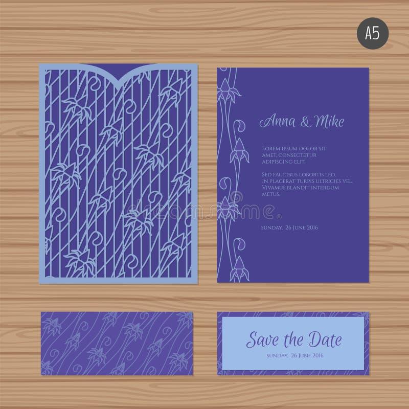 Поздравительная открытка приглашения или свадьбы с флористическим орнаментом Бумага иллюстрация вектора
