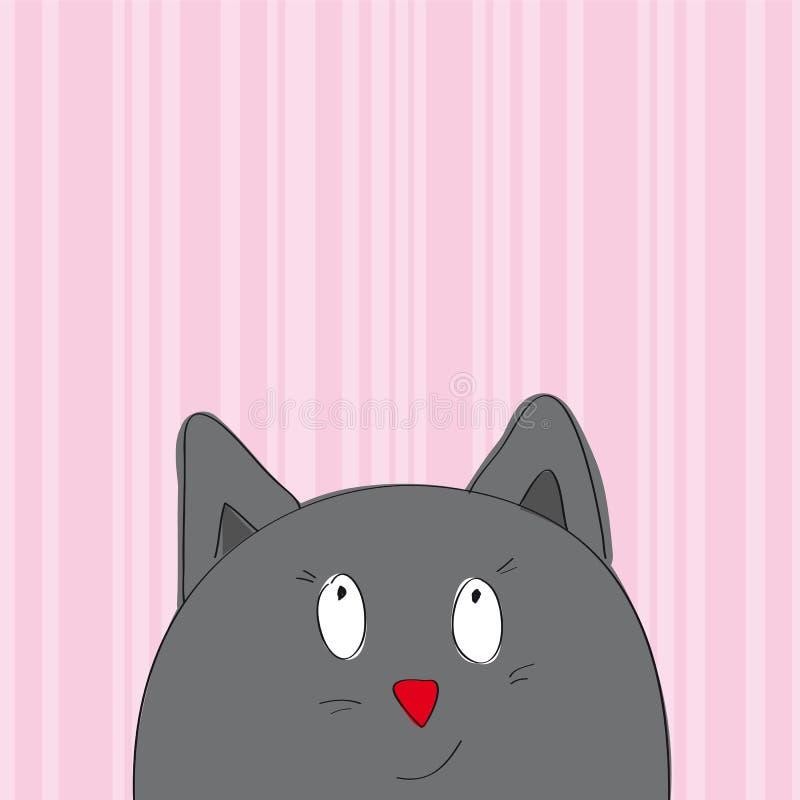 Поздравительная открытка при серый кот смотря от внизу страницы бесплатная иллюстрация
